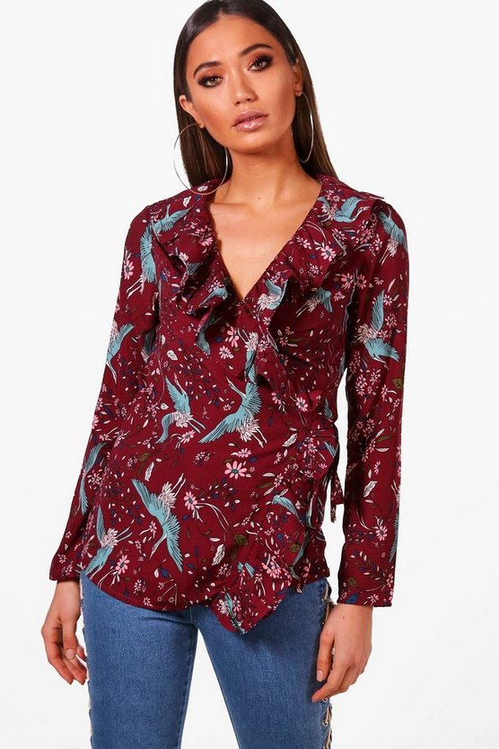 Polly Printed Woven Ruffle Front Blouse