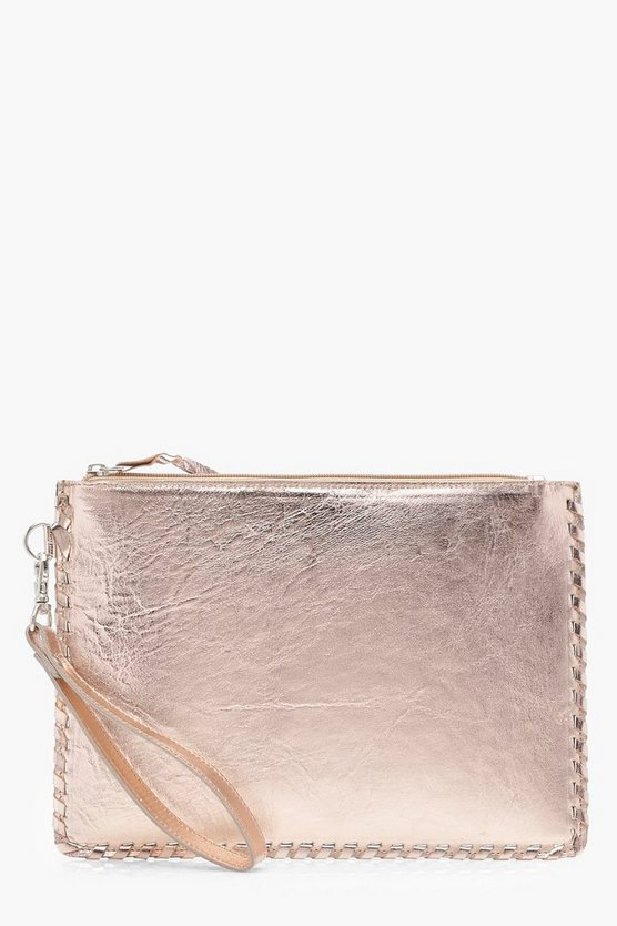 Leather Whipstitch Edge Metallic Clutch