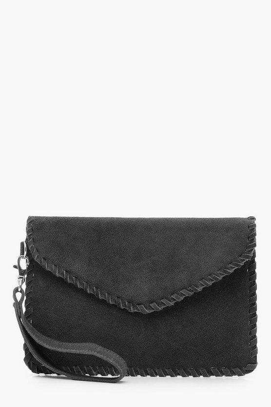 Ivy Real Suede Whipstitch Edge Envelope Clutch
