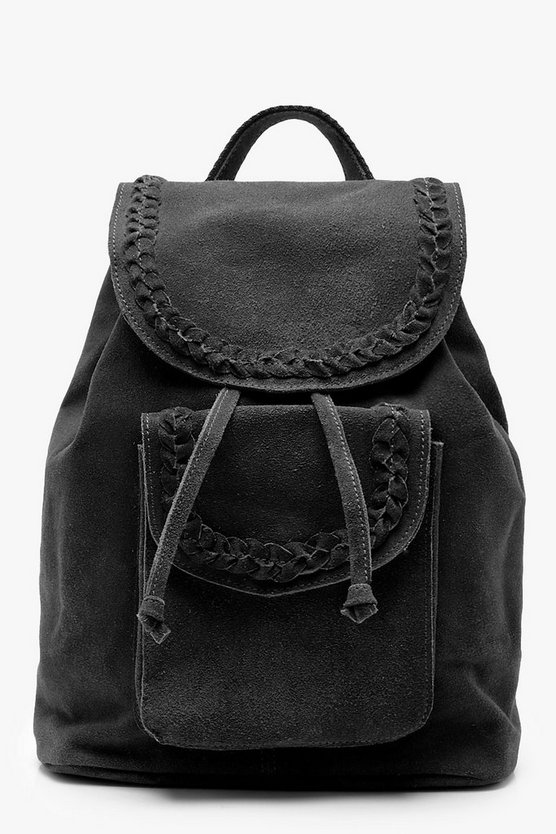 Erin Real Suede Whipstitch Pocket Rucksack