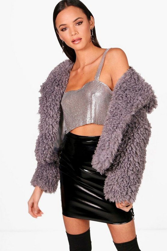 Crop Wrap Collar Faux Fur Coat