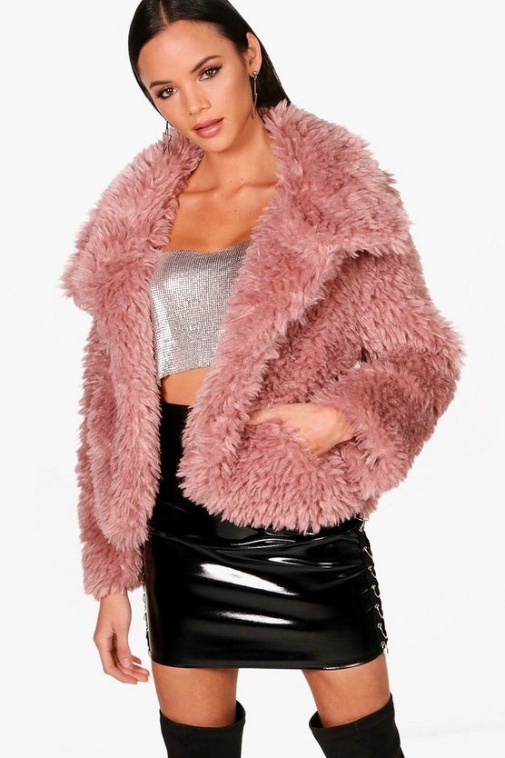 Casey Crop Wrap Collar Faux Fur Coat