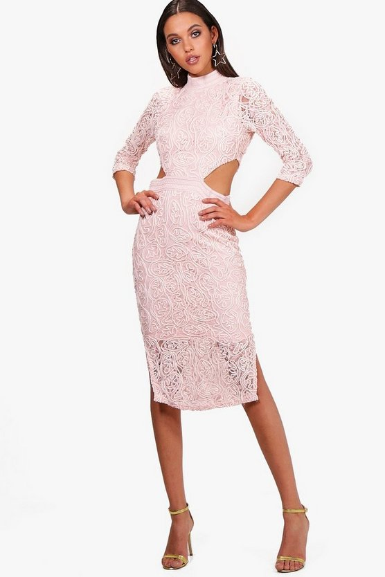 Boutique Lace Cutout Midi Dress