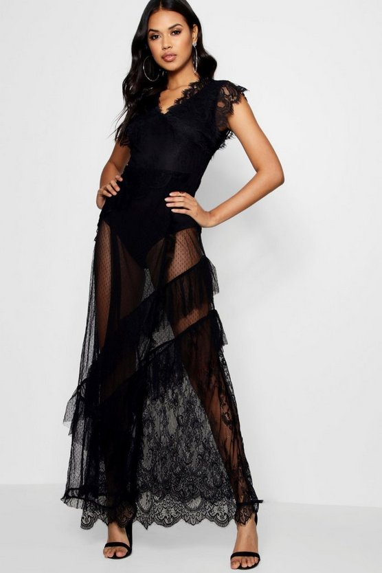 Ally Dobby Lace Teirred Maxi Dress