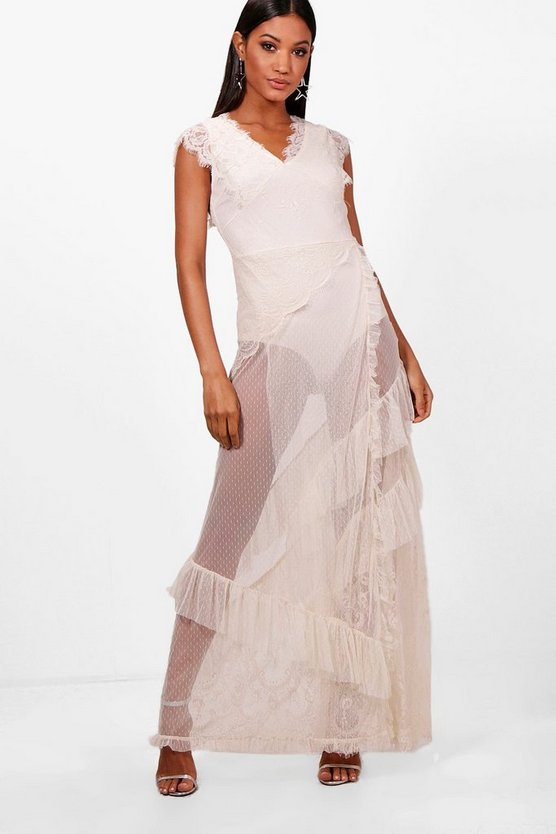 Dobby Lace Teirred Maxi Dress