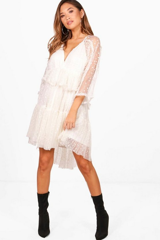 Dobby Spot Batwing Ruffle Dress