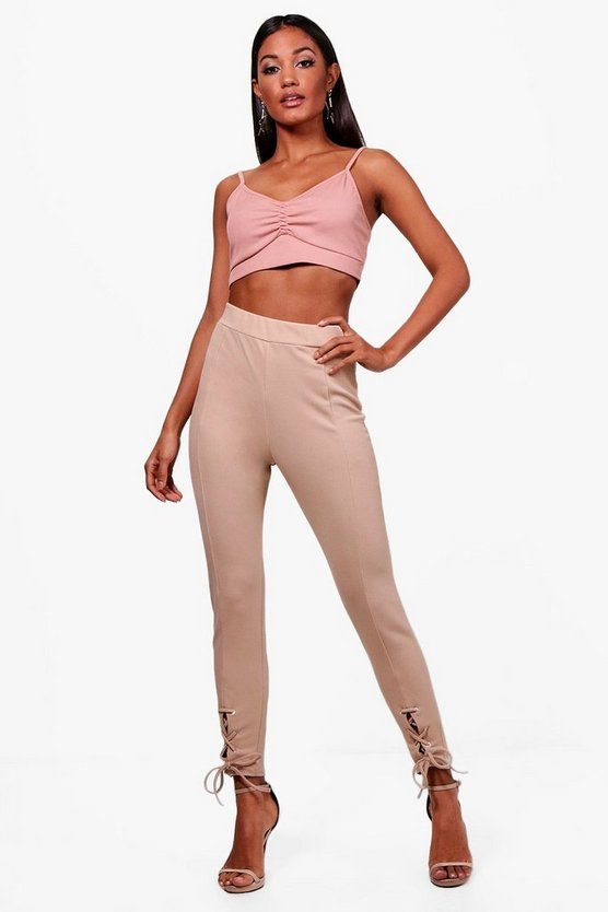 Laurie Eyelet Lace Up Seam Front Leggings