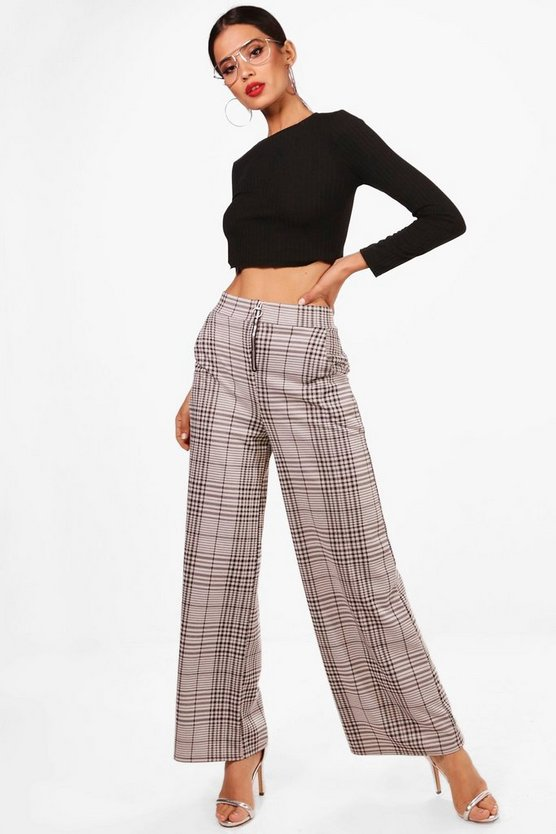 Woven Wide Leg Check Trousers