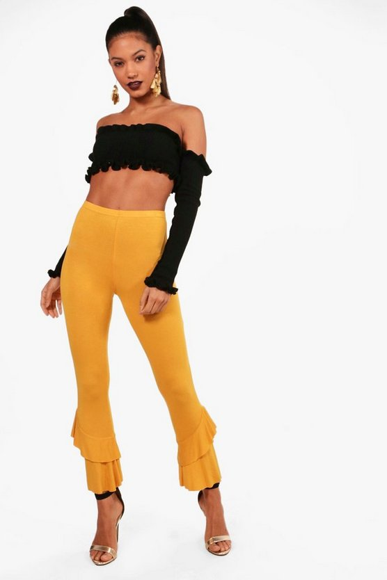 Asymetric Ruffle Hem Leggings