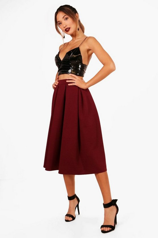 Hannah Box Pleat Crepe Longline Skater Skirt