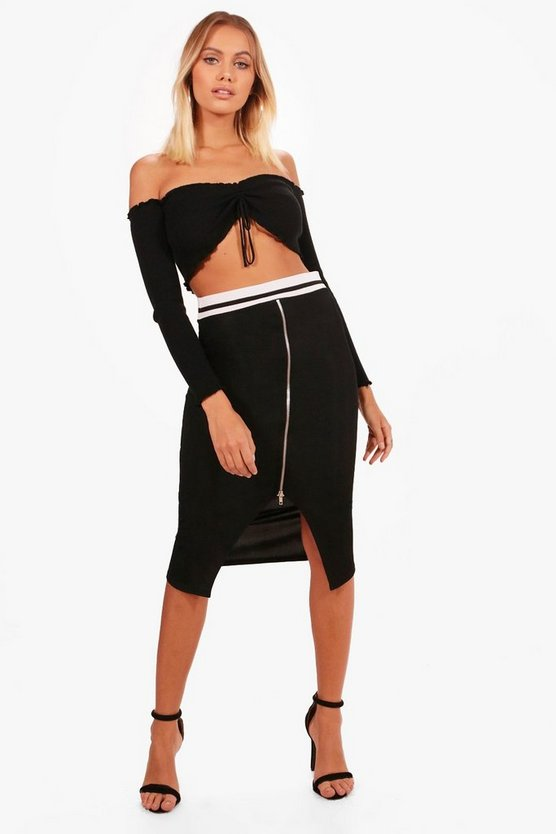Raya Sports Waistband Zip Front Rib Midi Skirt
