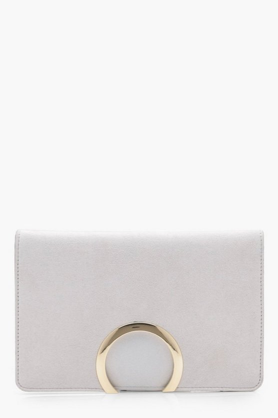 Faye Metal Circle Suedette And PU Mix Clutch