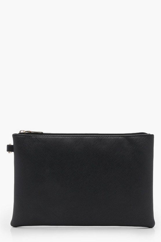 Lottie Cross Hatch Zip Top Clutch Bag