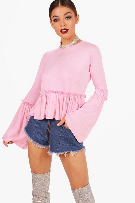 Jane Micro Ruffle Flare Sleeve Top