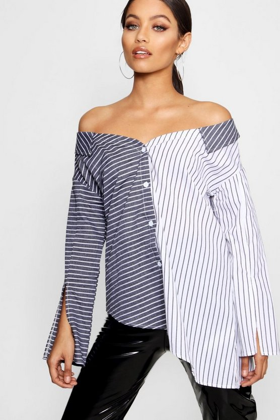 Amy Asymmetric Stripe Shirt