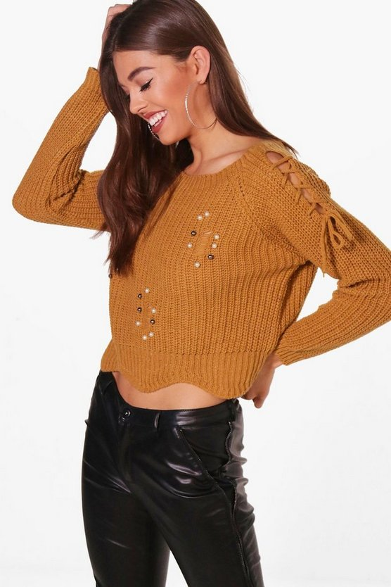 Alicia Pearl Trim Scallop Hem Jumper