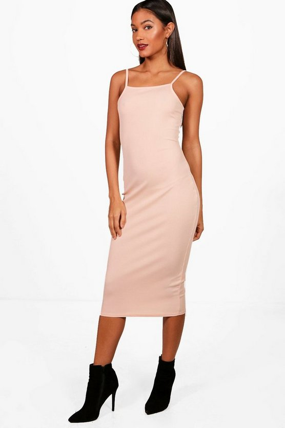 Philippa Square Neck Ribbed Midi Bodycon Dress