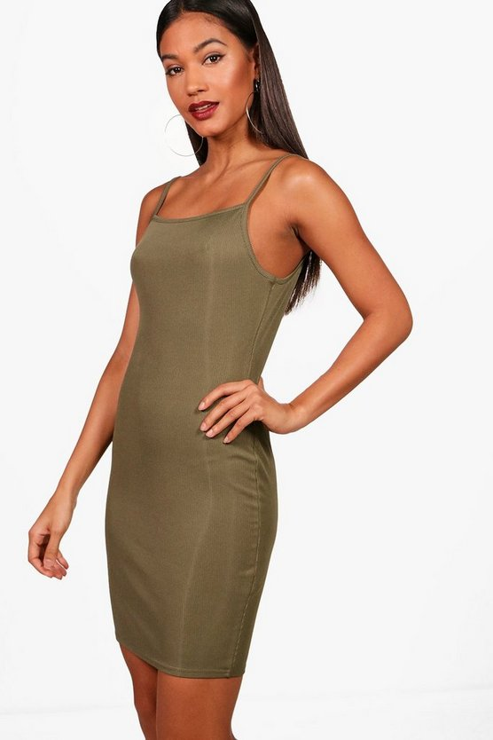 Raven Square Neck Ribbed Bodycon Mini Dress