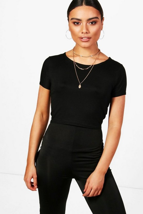 Hannah Basic Scoop Neck Cap Sleeve T-Shirt