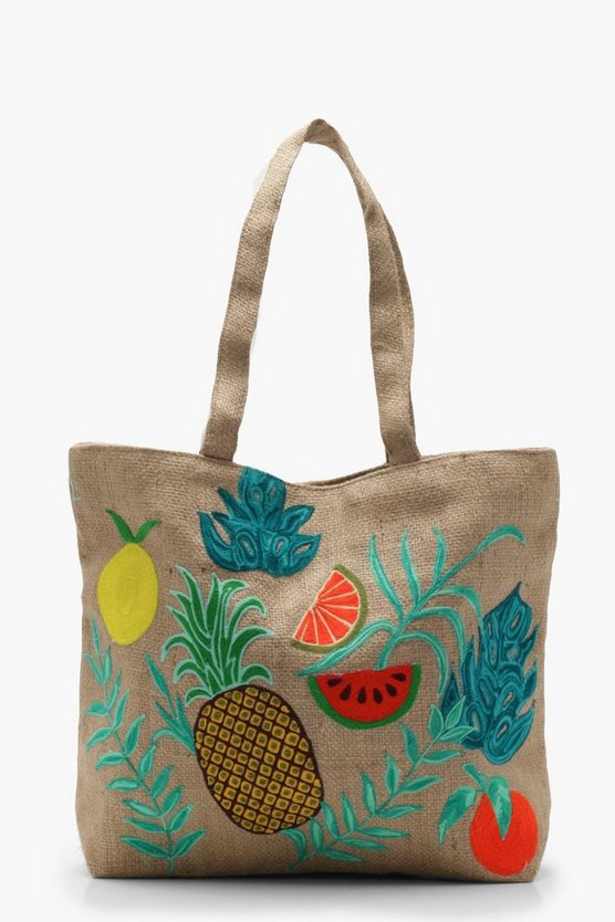Embroidery Tropical Beach Bag
