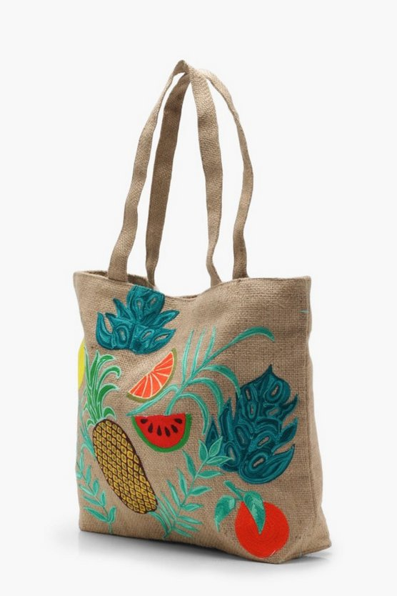 Lilly Embroidery Tropical Beach Bag by Boohoo