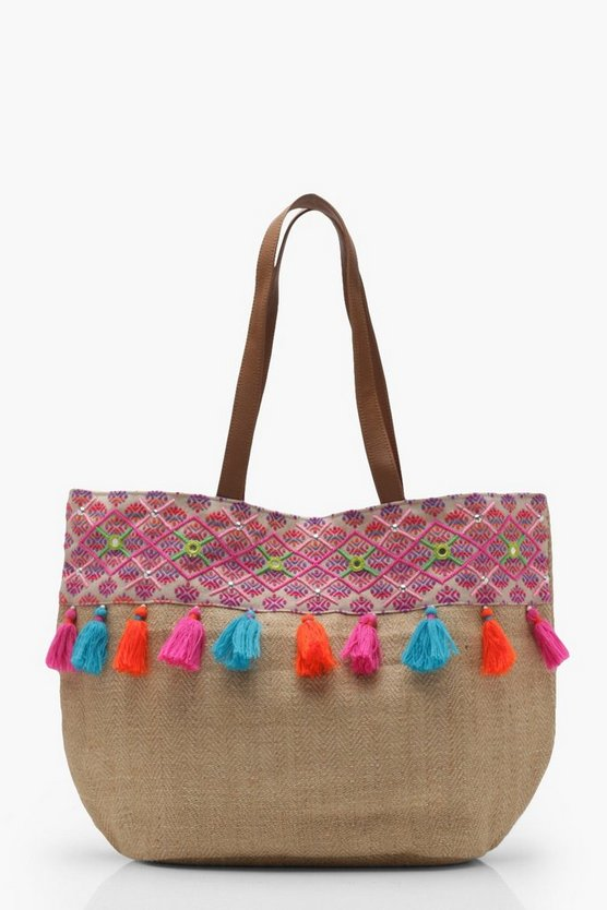 Florence Straw Tassel Beach Bag