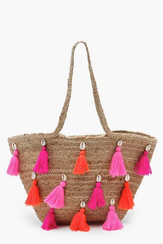 Keira Multi Colour Tassel Straw Bag