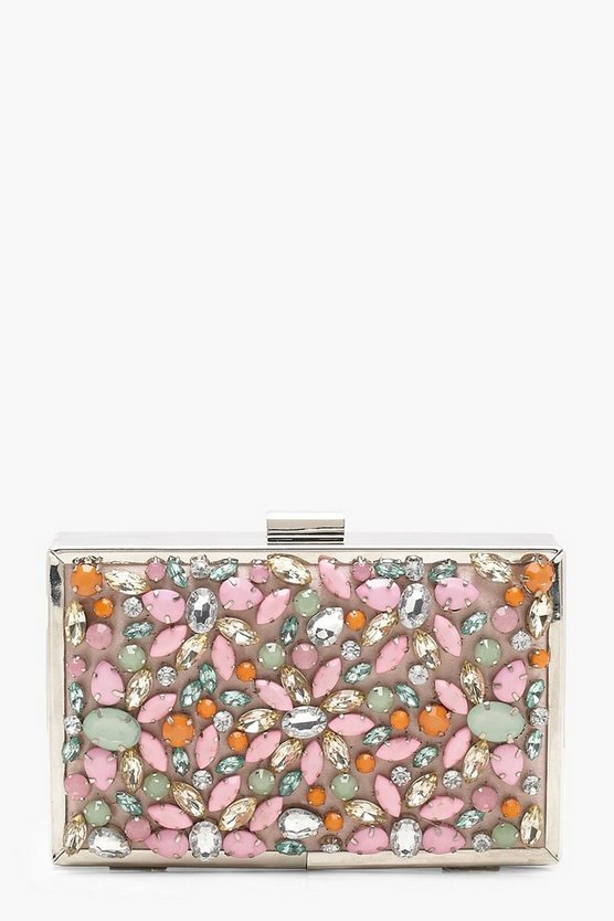 Premium Encrusted Pastel Box Clutch