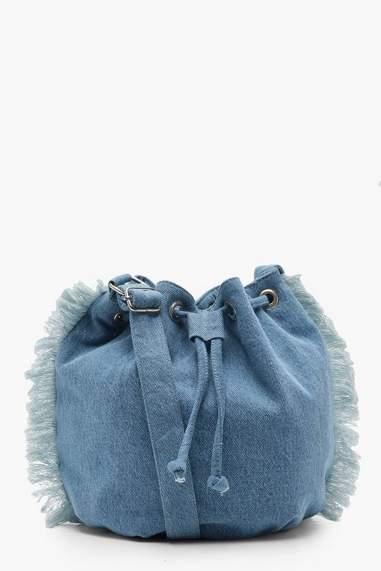 Gracie Fringed Denim Duffle
