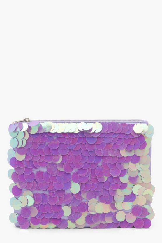 Lucy Iridescent Oversize Sequin Clutch