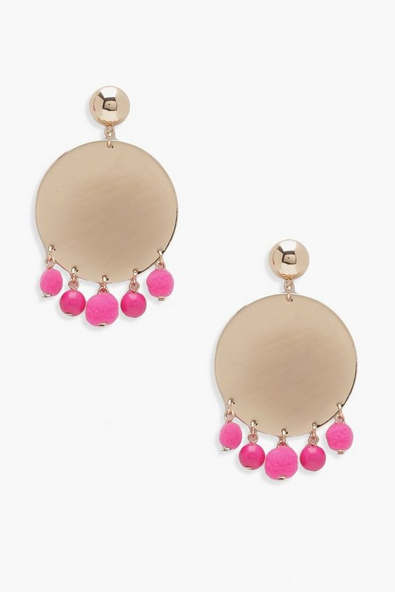Millie Pom Trim Disc Earrings