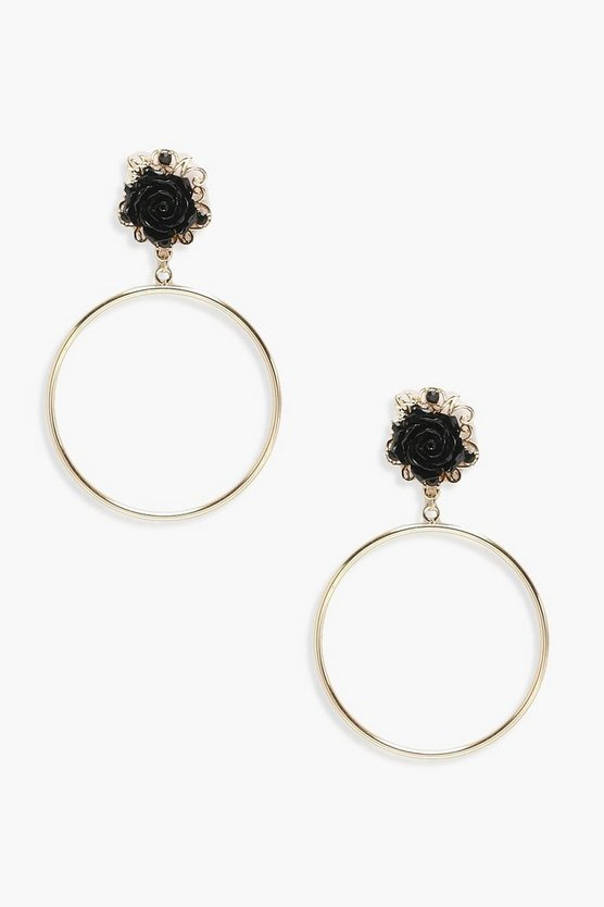 Floral Detail Hoop Earrings