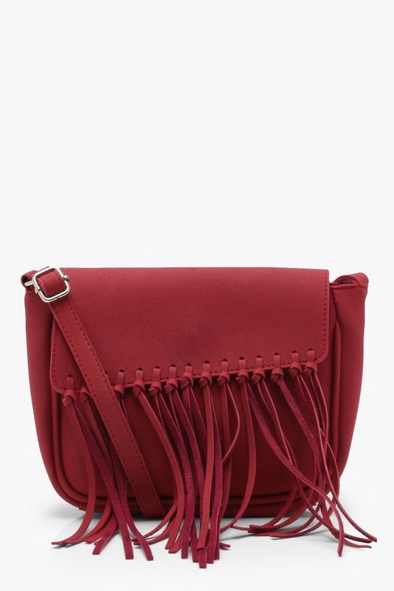 Mia Knot Fringe Suedette Cross Body