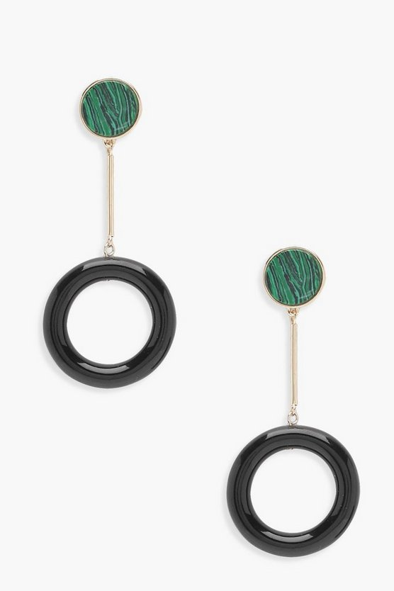 Effect Stone Resin Hoop Drop Earrings