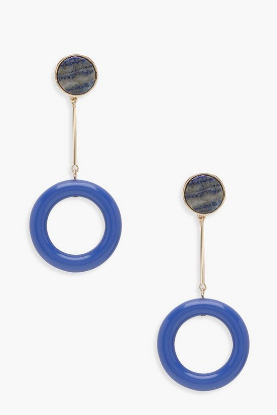 Leah Marble Effect Stone Resin Hoop Drop Earrings