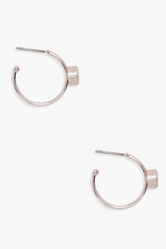 Stone Detail Mini Hoop Earrings