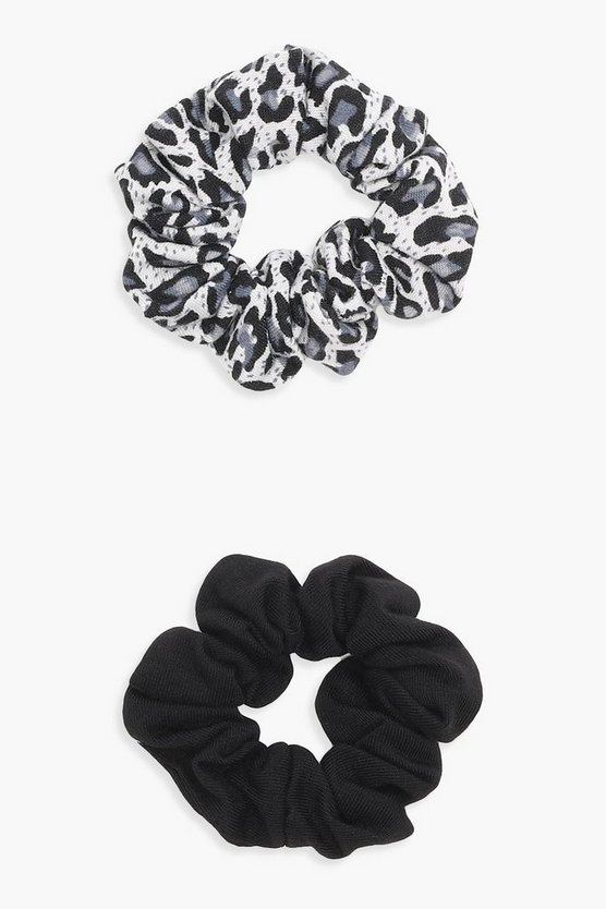 Georgia Grey Leopard 2 Pack Scrunchies