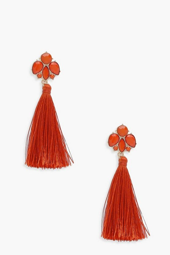 Bethany Floral Gem Tassel Earrings