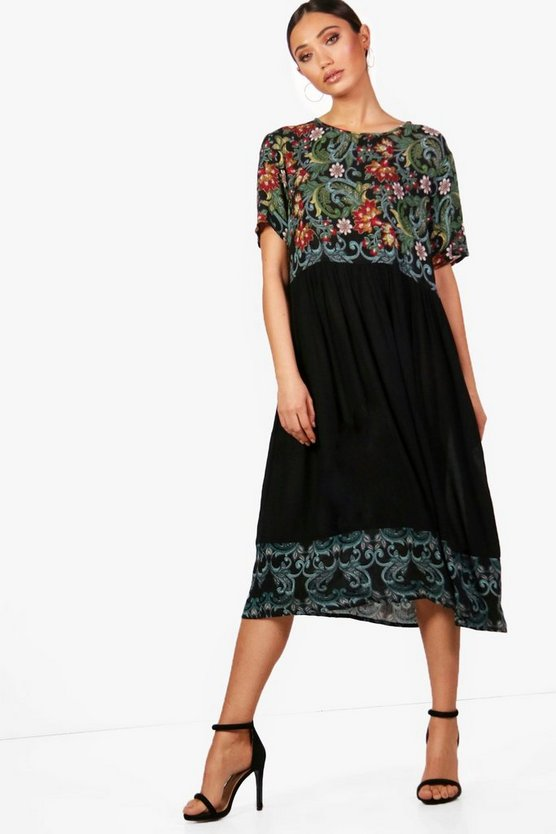 Megan Floral Printed Smock Dress