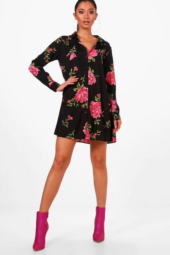 Farrah Floral Swing Shirt Dress