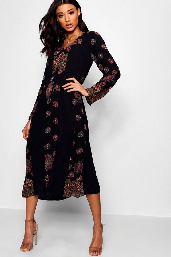 Leslie Printed Smock Midi Dress