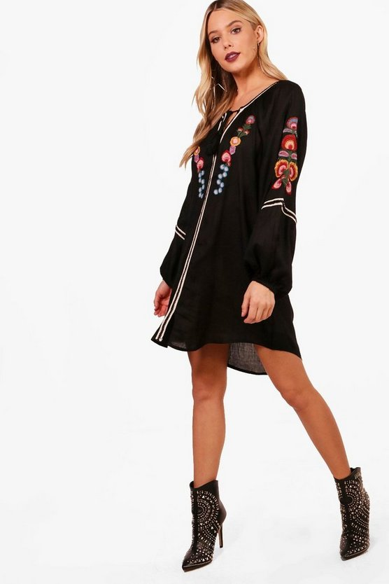 Camille Embroidered Tassel Smock Dress