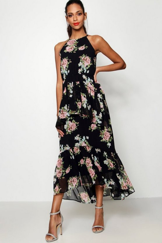 Floral High Neck Ruffle Midaxi Dress