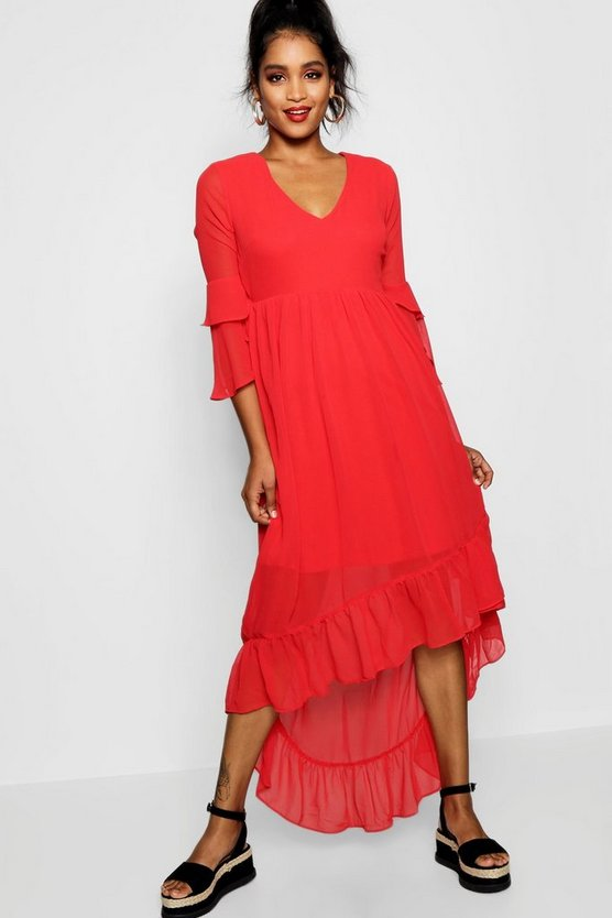 Ruffle Asymmetric Midi Tea Dress