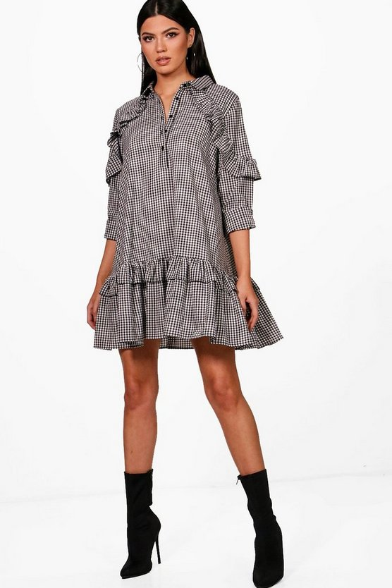 Double Ruffle Gingham Smock Shirt Dress