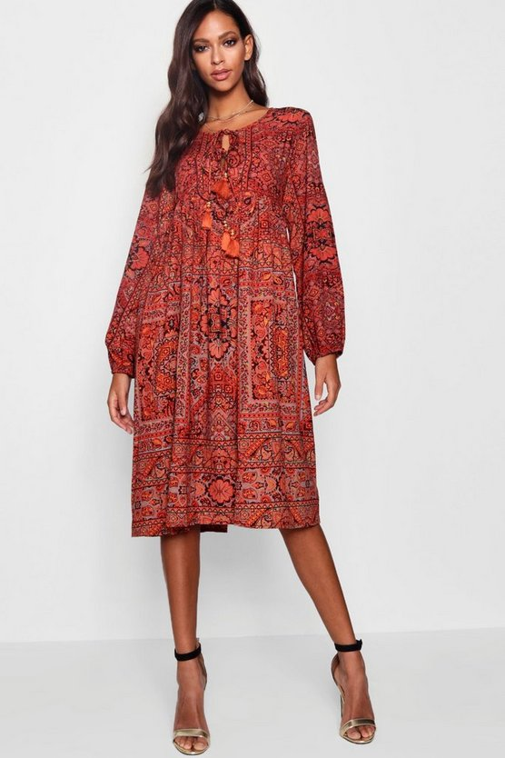 Tie Front Long Sleeve Smock Dress