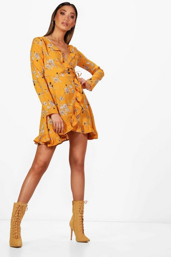 Kathy Wrap Front Ruffle Floral Tea Dress