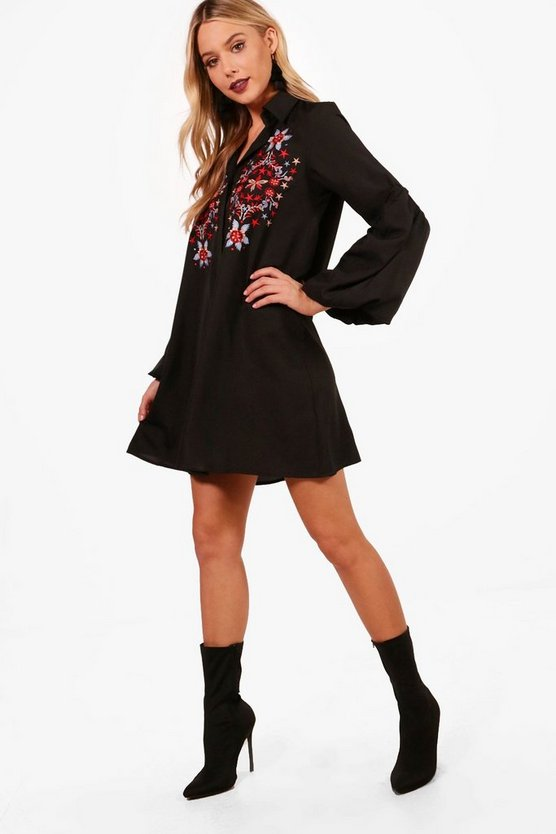 Puff Sleeve Embroidered Shirt Dress
