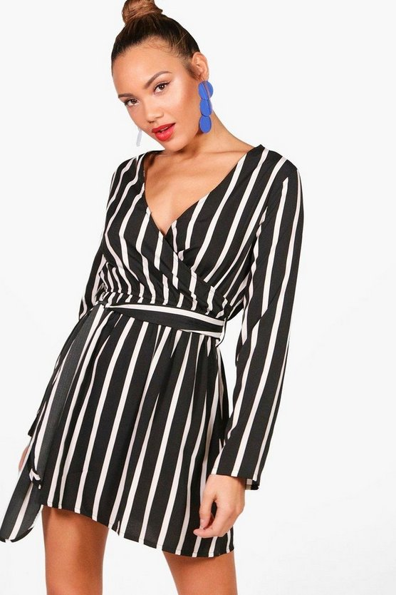 Elizabeth Double Wrap Stripe Skater Dress