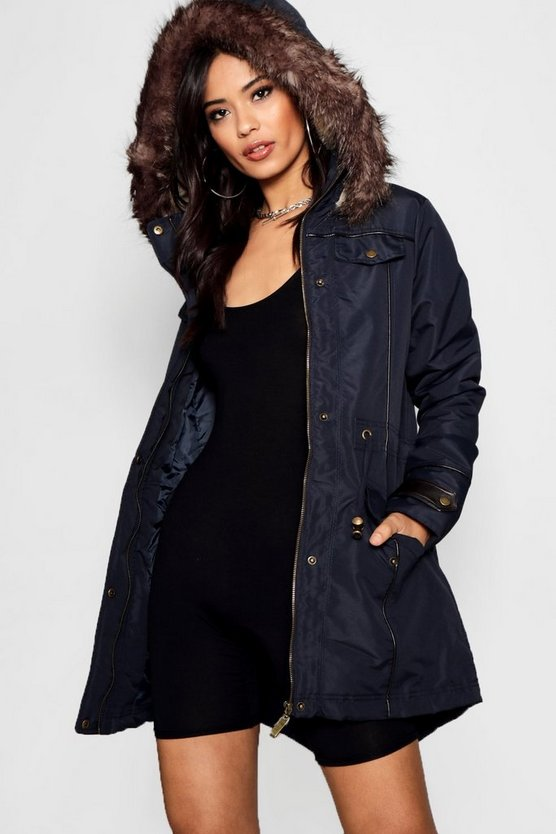 Layla Faux Fur Trim Parka